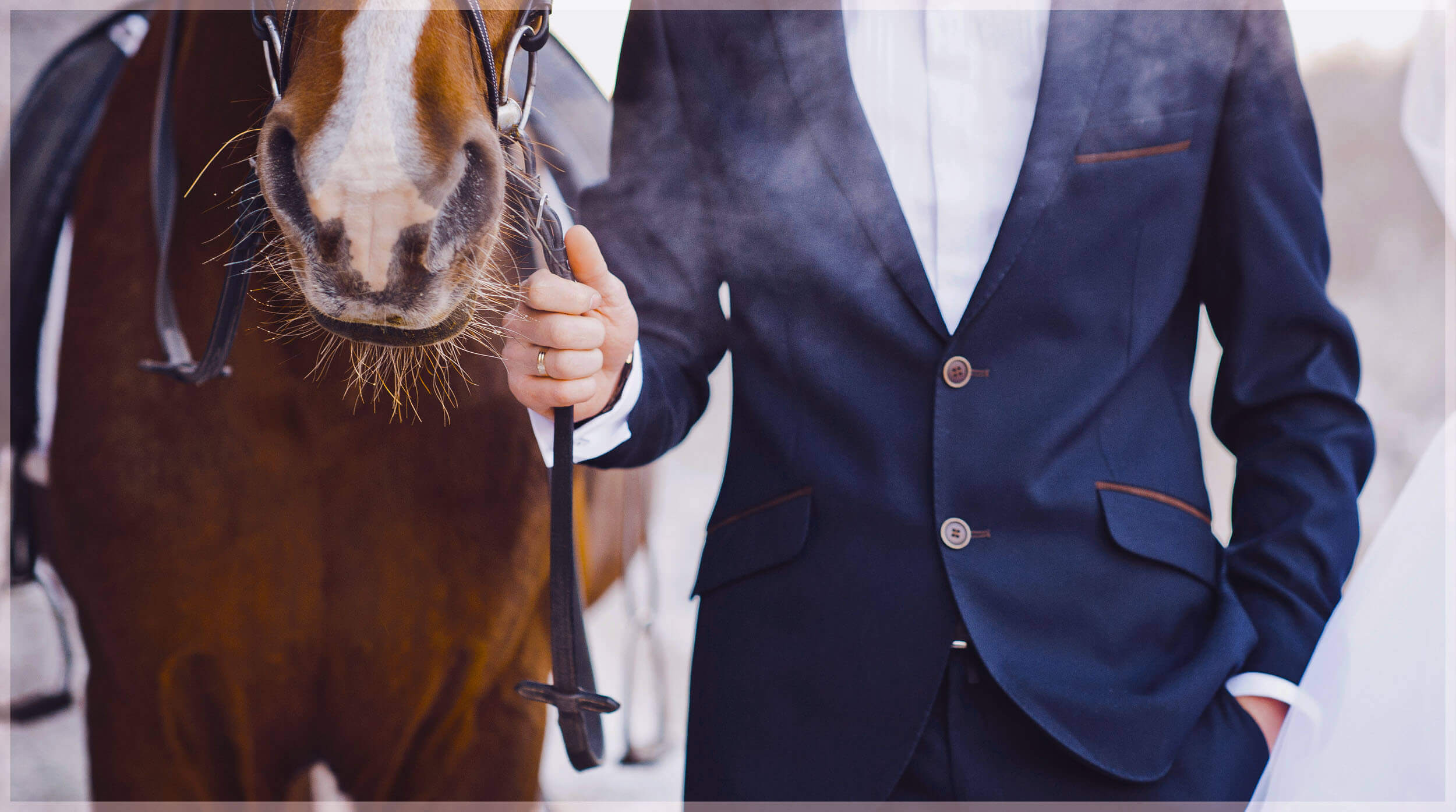 Groom Pictures-Groom posing next to a horse