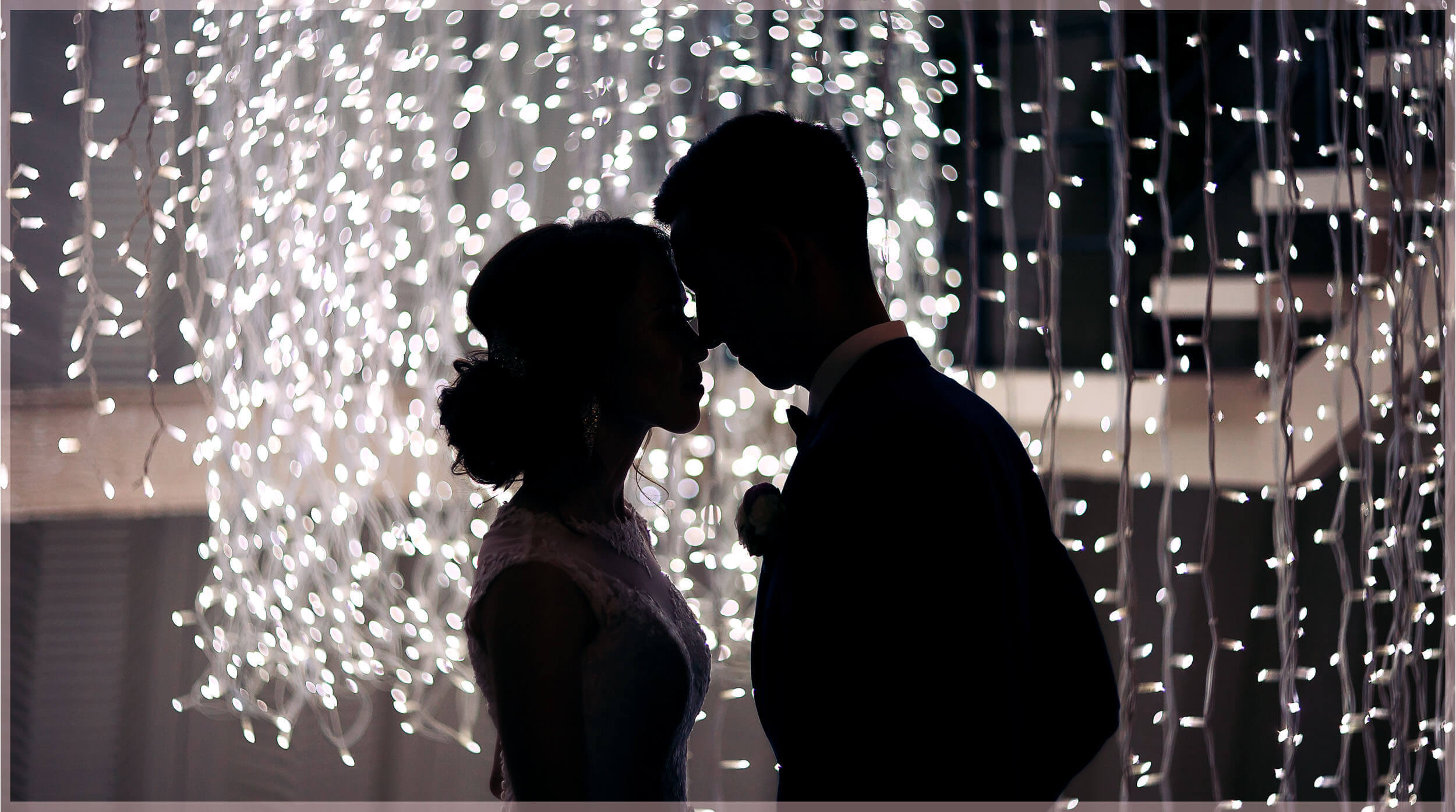 Wedding Photos in low light- the couple's Silhouette